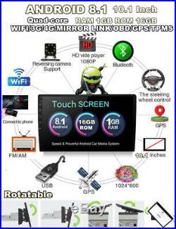 1Din Rotatable Android 8.1 10.11080P Quad-core RAM1GB ROM 16GB Car Stereo Radio