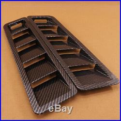 2Pcs Carbon Fiber Car Hood Vents Louver Panel Trim ABS Universal For all Cars