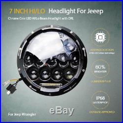 2pcs E-mark 150W Land Rover Defender LED Headlights RHD 7 90 110 Hi/Lo Beam DRL