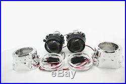 2x 2.5 Angel Eye Bi-Xenon Headlight Projector Lamp Lens withLight Guide&Inverter