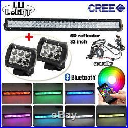 32inch Led light bar Multi color changing RGB halo ring+ 2x Pods Work light Bar