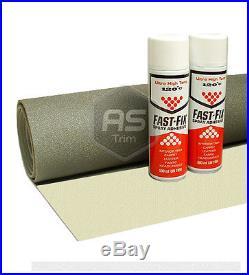 3m x 1.6m ExtraWide Headlining Textured Vanilla FoamBacked +2 Hi Temp Spray Glue