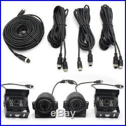 4CH Car Vehicle DVR Video Recorder Box +7 Monitor+4x Night Vision Camera Video