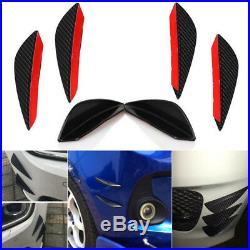 4pcs Black Carbon Fiber Front Bumper Body Spoiler Canards Splitter Fins Exterior
