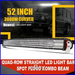 52inch 3000W Curved Led Spot Flood Combo Quad Row Light Bar For Ford F150 50/54