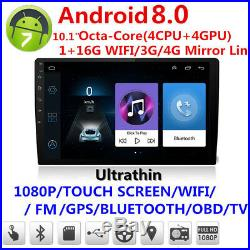 Android 8.0 10inch Car Dash Stereo Radio GPS Wifi MP5 Player Mirror Link 1+16G