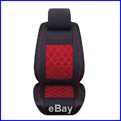 Car Breathable PU Leather&Mess Fabric 5-Seat Cover Front Rear Portector Cushion