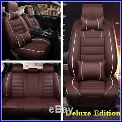 Coffee Deluxe PU Leather Seat Covers Cushion Front+Rear With Pillows For Car SUV