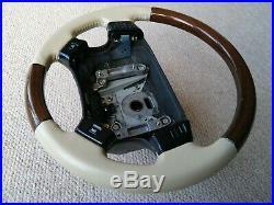 Range Rover P38 Leather Walnut Lightstone Cream Steering Wheel