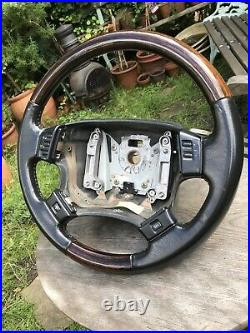 Range Rover p38 leather wood steering wheel Wooden Black Stitched Leather