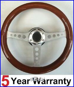 Silver 3 Spoke Wooden Rimmed 13.7 Inch 350mm Steering Wheel Fits All Boss Kit