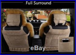 Super soft & fluffy Winter Sheepskin Fur Car 2 Front Seat Cover Winter Grey/Blue