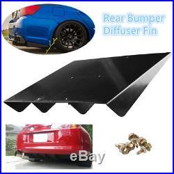 Universal 22x 19.3ABS Rear Bumper Lip 4Fins Diffuser Under Rear bumper Screws