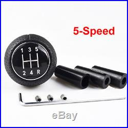 Universal 5-Speed Gear Shift Knob Manual Leather Shifter Lever Black UK STOCK