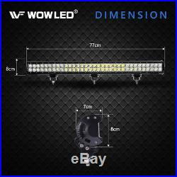 WOW 30 198W LED Combo Driving Lights Roof Bar ATV UTE Truck Boat 4WD + Wiring