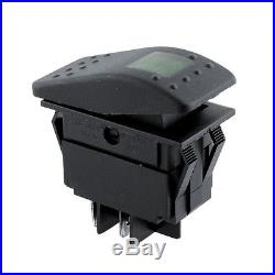 Waterproof 5Pcs 4Pin 12V 20A Bar Rocker Toggle Switch Green LED Light Car Boat