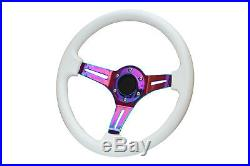 White Purple TS Aftermarket Sports Steering Wheel 6x70mm PCD